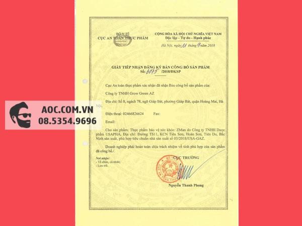 Sản phẩm Zman được cấp giấy chứng nhận