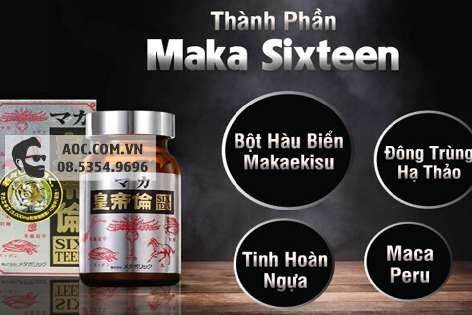 Các thành phần chính có trong Viên uống Maka Sixteen