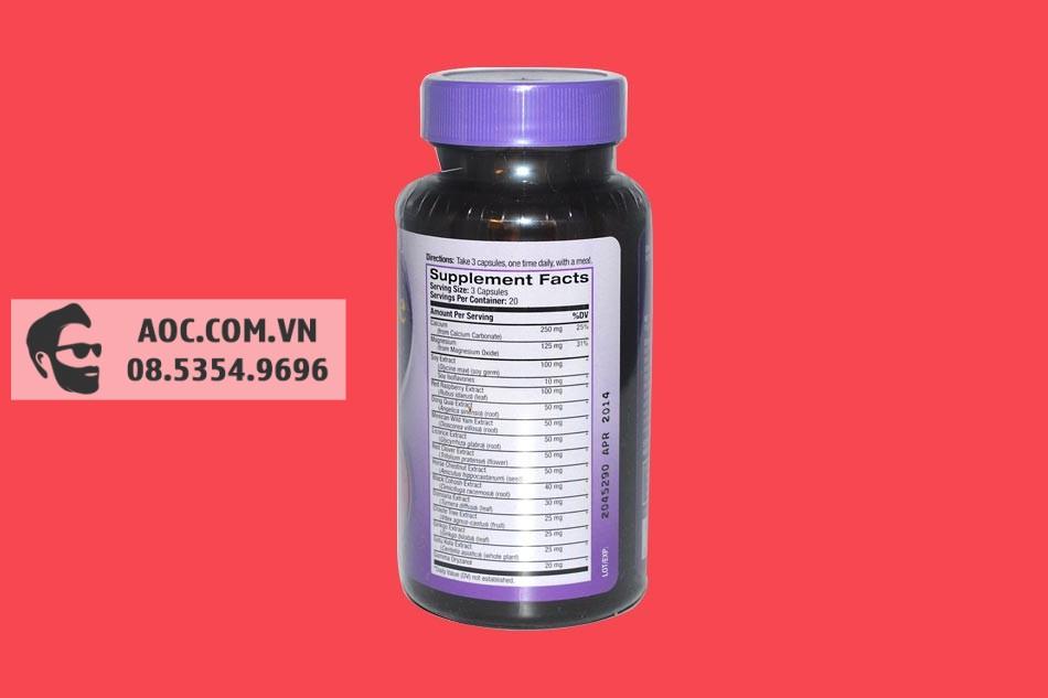 Mặt sau hộp Natrol Menopause Formula
